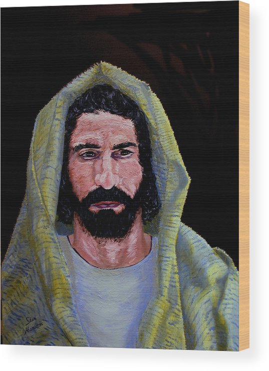 Jesus Christ Wood Print featuring the painting Jesus In Contemplation by Stan Hamilton