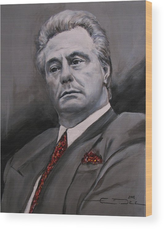 Gotti Wood Print featuring the painting John Gotti by Eric Dee