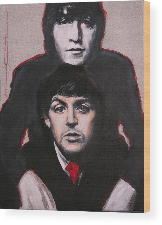 The Beatles Wood Print featuring the painting John's Ghost by Eric Dee