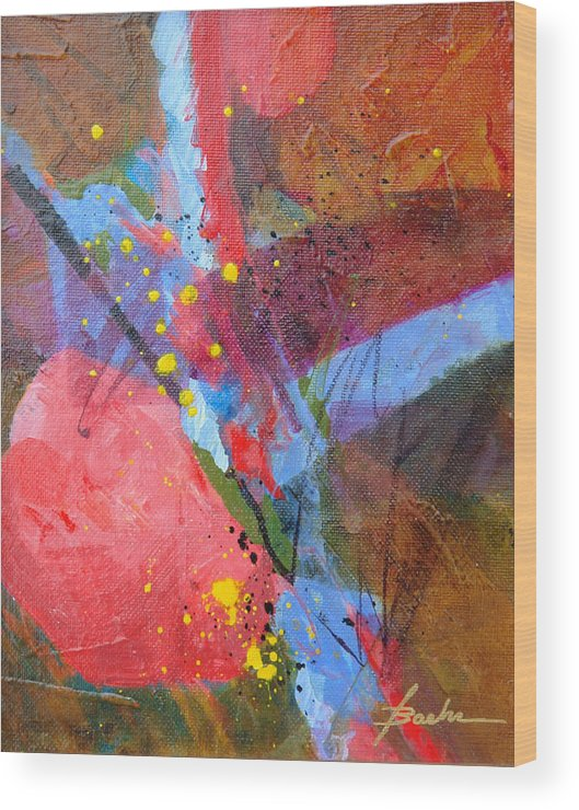 Abstract Wood Print featuring the painting Juiced Up by Marie Baehr