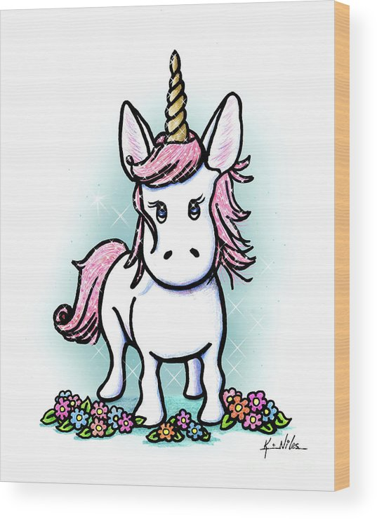 Unicorn Wood Print featuring the drawing Kiniart Unicorn Sparkle by Kim Niles