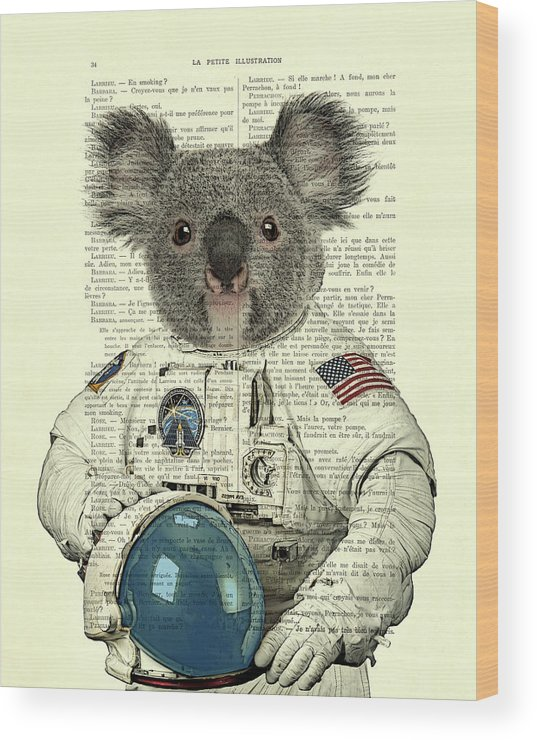 Astronaut Wood Print featuring the digital art Koala In Space Illustration by Madame Memento
