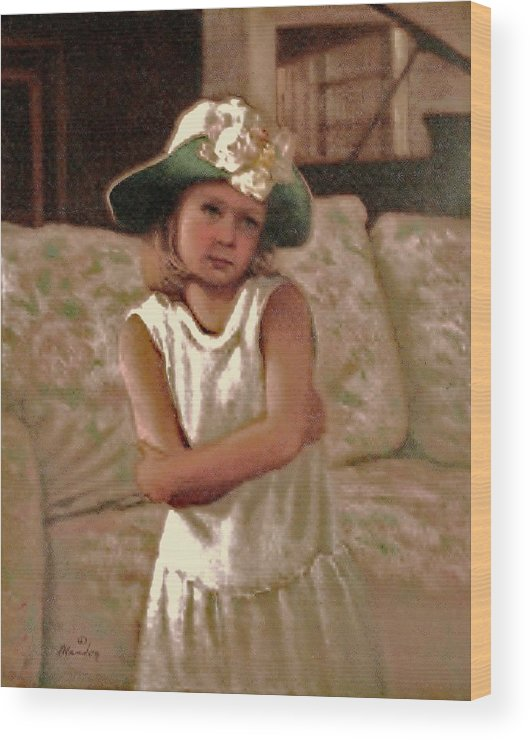 Image Of A Child Wood Print featuring the painting Kristinas First No To Piano Lessons by David Olander
