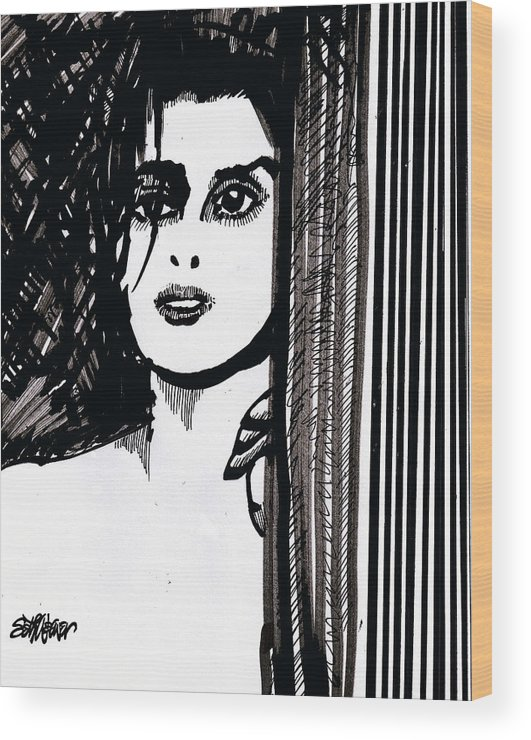 Sad Lady Wood Print featuring the drawing Lady At The Door by Seth Weaver