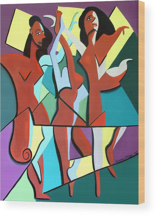 Ladys In Red Framed Prints Wood Print featuring the painting Ladys In Red by Anthony Falbo