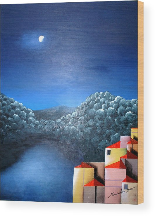Italy Wood Print featuring the painting Lake Como by Massimiliano Stanco