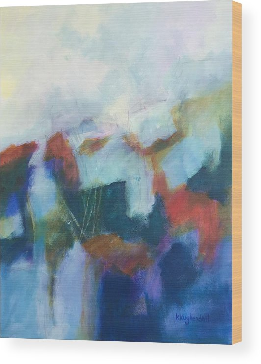 Abstract Wood Print featuring the painting Ledge by Karen Kuykendall