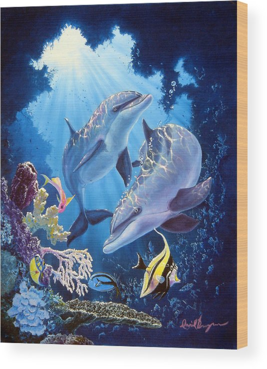 Dolphin Wood Print featuring the painting Light Of Serenity by Daniel Bergren