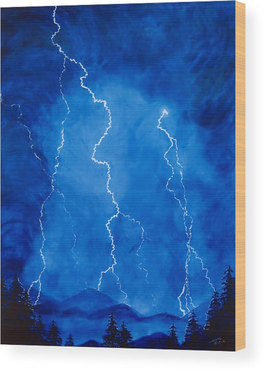 Lightening Wood Print featuring the painting Lightening Storm In The Mountains by Lorraine Foster
