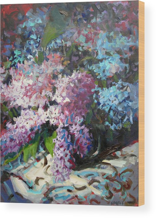 Paintings Wood Print featuring the painting Lilacs by Brian Simons