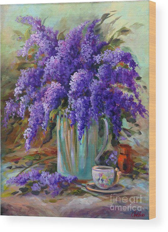 Florals Wood Print featuring the painting Lilacs Still Life by Gail Salitui