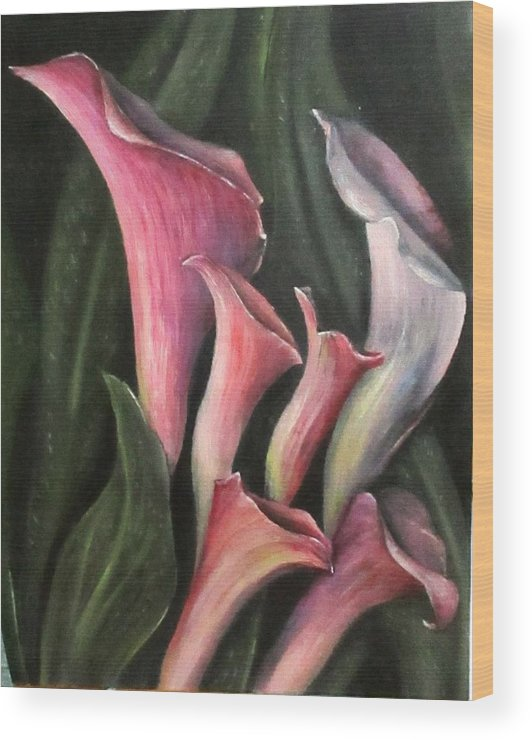 Flower Wood Print featuring the painting Lilies Calla Oil Painting by Natalja Picugina