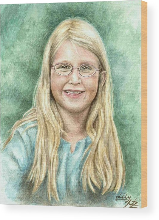 Girl Wood Print featuring the painting Lily by Nicole Zeug