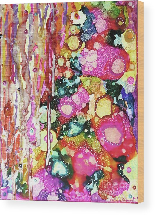 Abstract Wood Print featuring the mixed media Lines And Bubbles by Desiree Paquette
