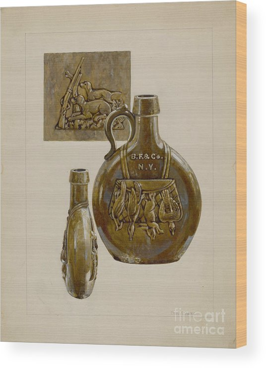 Wood Print featuring the drawing Liquor Bottle by Charles Caseau