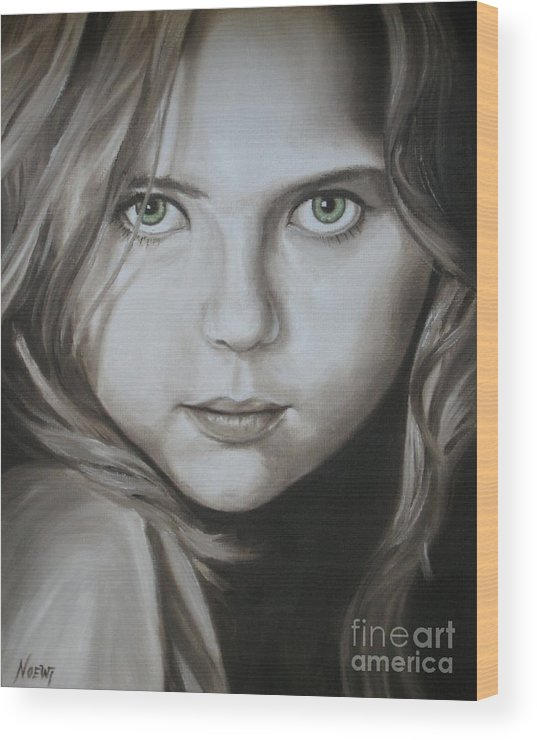 Portrait Wood Print featuring the painting Little Girl With Green Eyes by Jindra Noewi