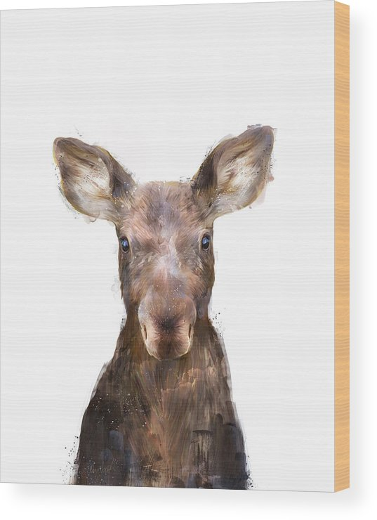 Moose Wood Print featuring the painting Little Moose by Amy Hamilton