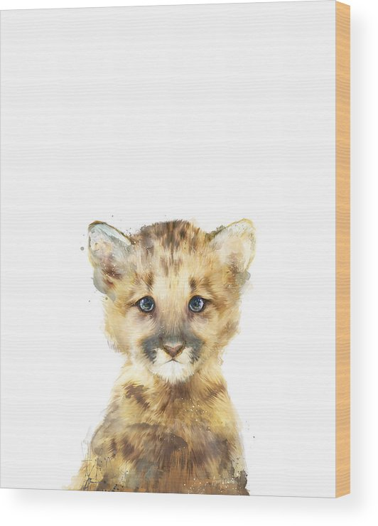Mountain Lion Wood Print featuring the painting Little Mountain Lion by Amy Hamilton