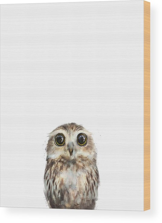 Owl Wood Print featuring the painting Little Owl by Amy Hamilton
