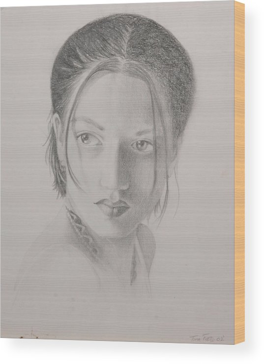 Pencil Wood Print featuring the drawing Liz by Tina Foote