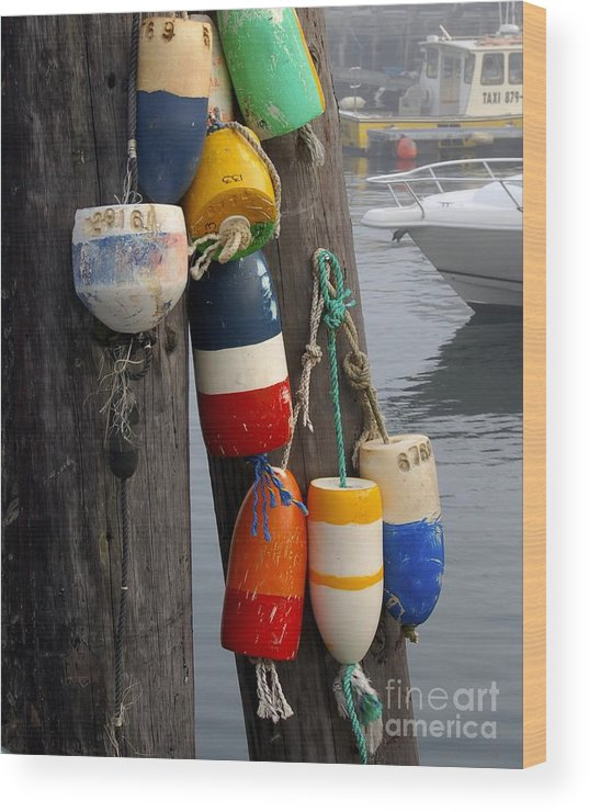 Lobster Wood Print featuring the photograph Lobster Buoy At Water Taxi Pier by Faith Harron Boudreau