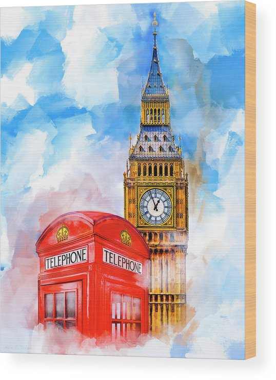 London Wood Print featuring the mixed media London Dreaming by Mark Tisdale