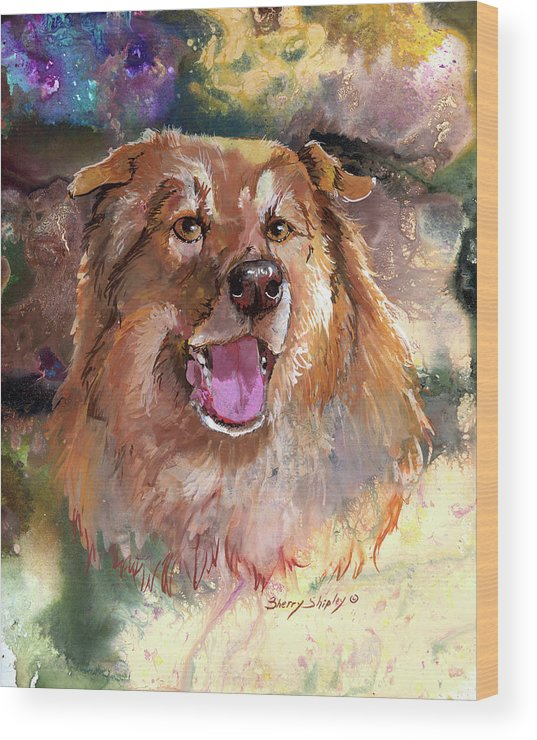 Dog Wood Print featuring the painting Lots Of Love by Sherry Shipley