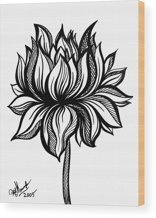 Lotus Flower Black White Drawing Wood Print By Sofia Metal Queen