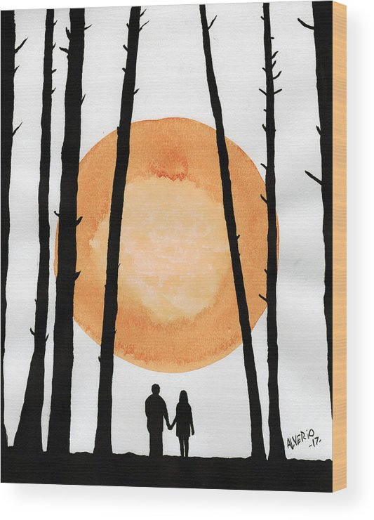 Man Wood Print featuring the painting Lovers In Forest by Edwin Alverio