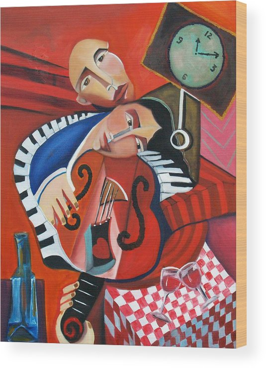 Love Woman Man Time Red Music Violin Piano Wine Romance Cubism Cubist Figurative Abstract Wood Print featuring the painting Love's Melody by Niki Sands