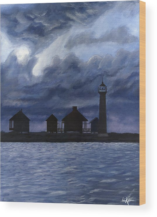 Landscape Wood Print featuring the painting Lydia Ann Lighthouse by Adam Johnson