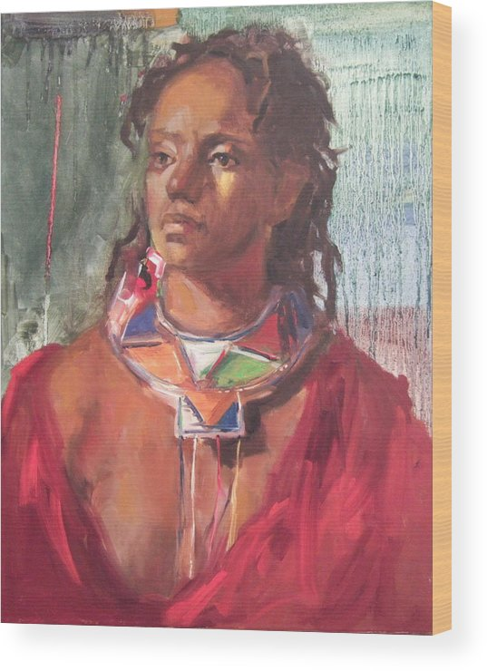 African Painting Wood Print featuring the print Maasai Pride by Michelle Philip