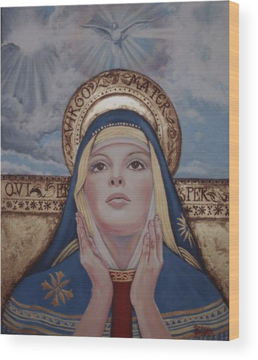 Portrait Wood Print featuring the painting Madonna by Diann Baggett