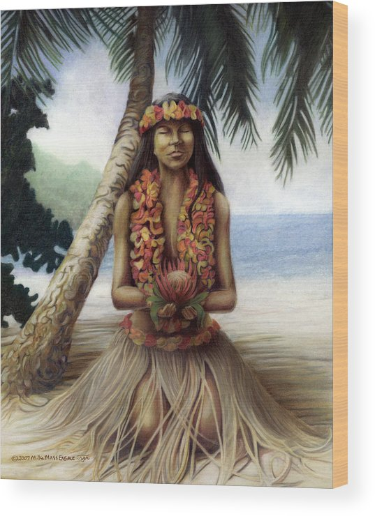 Tropical Art Wood Print featuring the drawing Mahalo by Mike Massengale