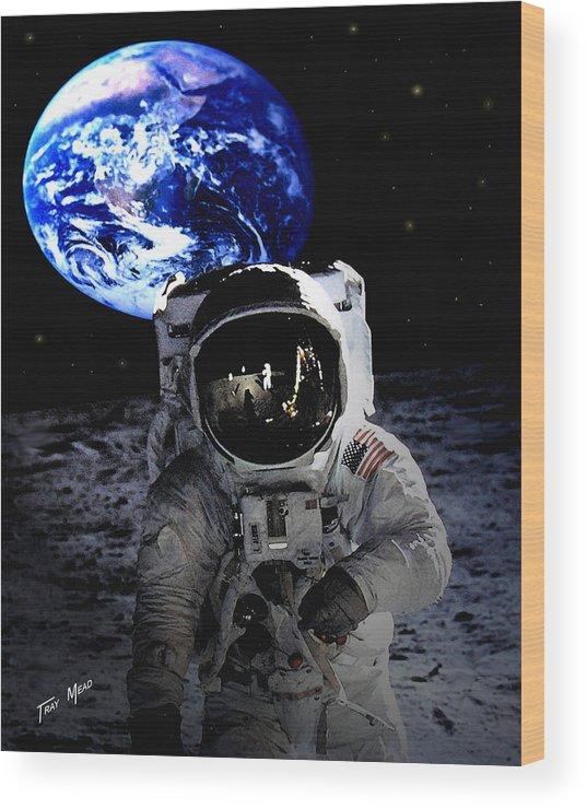 Moon Wood Print featuring the photograph Man On The Moon by Tray Mead