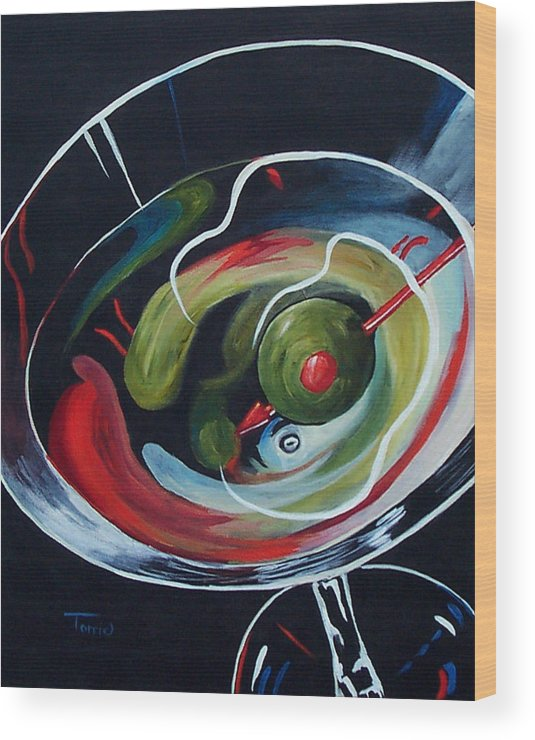 Martini Wood Print featuring the painting Martini - Stirred Iv by Torrie Smiley