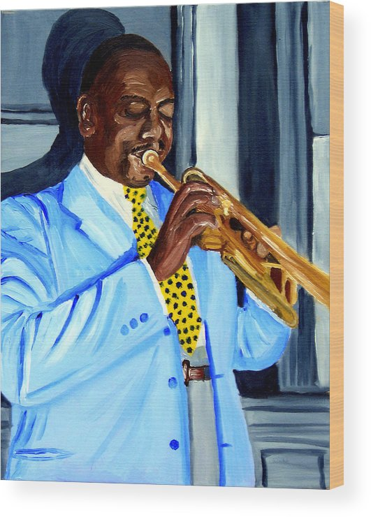 Street Musician Wood Print featuring the painting Master Of Jazz by Michael Lee