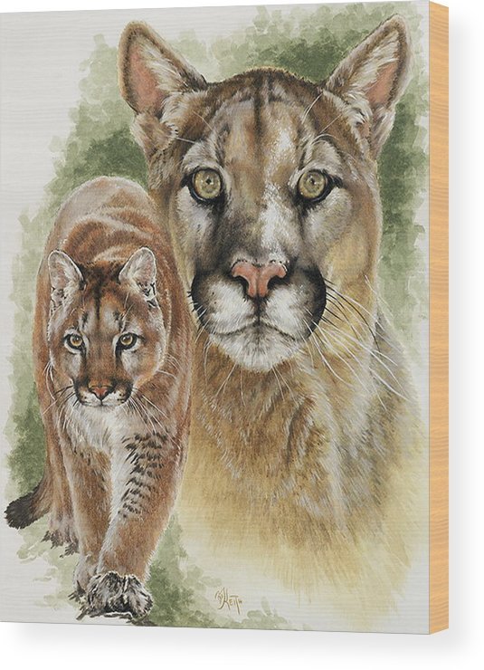 Cougar Wood Print featuring the mixed media Mighty by Barbara Keith