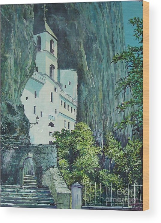 Architecture Wood Print featuring the painting Monastery Ostrog Montenegro by Sinisa Saratlic