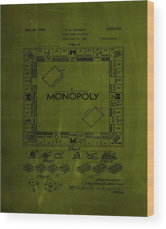 Patent Wood Print featuring the mixed media Monopoly Board Game Patent Drawing 1a by Brian Reaves