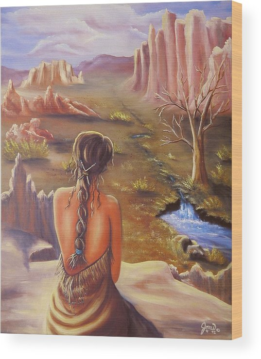 Native American Wood Print featuring the painting Morning Glory by Joni McPherson