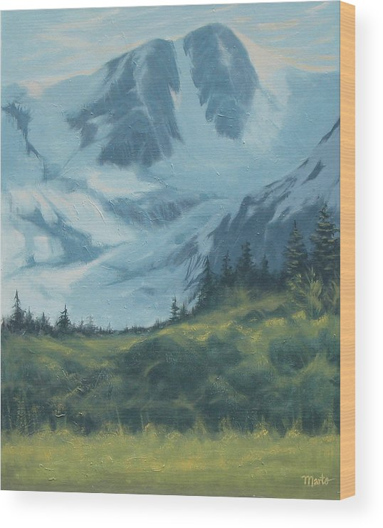 Mountain Wood Print featuring the painting Mountain Peak by Marte Thompson