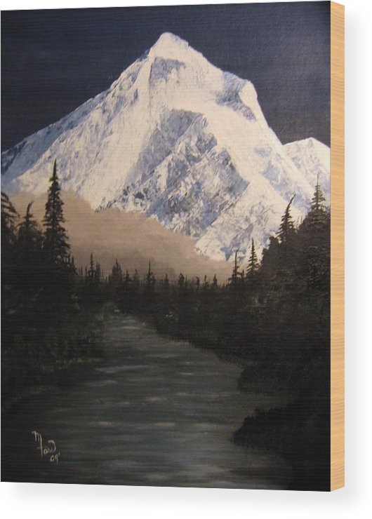 Landscape Wood Print featuring the painting Mt Hood by Mark Farr