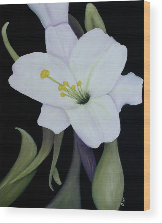 Lily Wood Print featuring the painting My White Lily by Mary Gaines