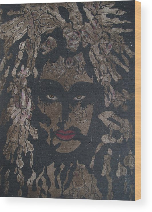 Figurative Wood Print featuring the painting Mysterious Desire by Natalie Holland