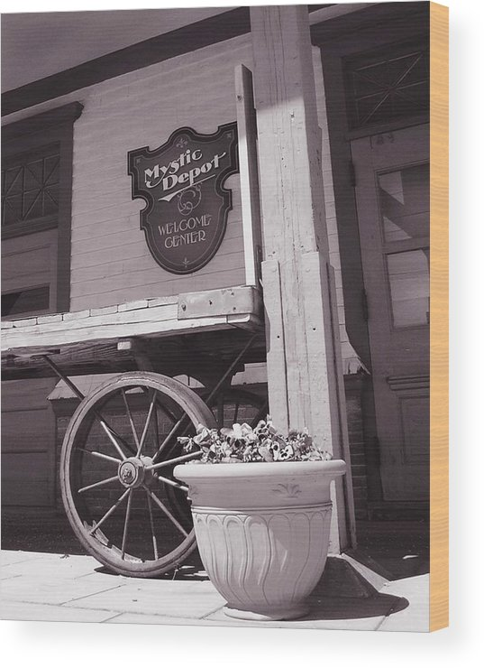 Train Wood Print featuring the photograph Mystic Depot by Heather Weikel