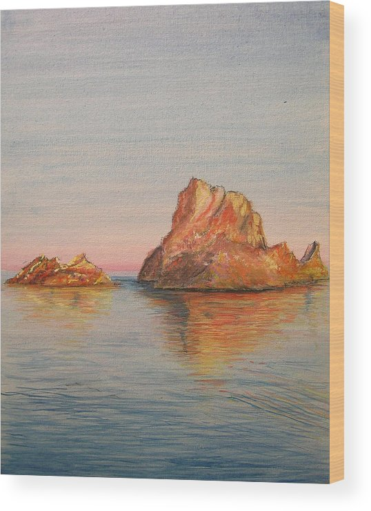 Island Wood Print featuring the painting Mystical Island Es Vedra by Lizzy Forrester
