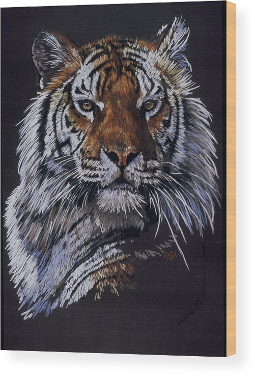 Tiger Wood Print featuring the drawing Nakita by Barbara Keith
