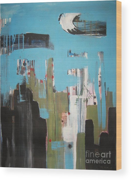 Abstract Paintings Wood Print featuring the painting Neglected Area by Seon-Jeong Kim