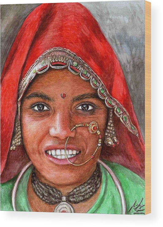 Woma Wood Print featuring the painting Northindian Woman by Nicole Zeug